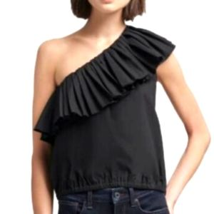 DKNY One Shoulder Ruffle Cotton Top